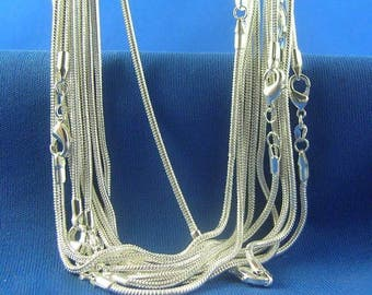 """Sterling Silver SNAKE Necklace Chain (1pc) - 1.2mm Thick - Pick Size 16"""" through 38"""" - Finished Necklace - Lobster Clasp - 925 Stamped"""