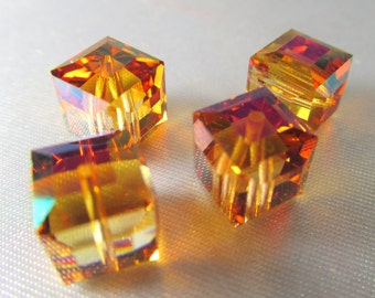 Astral Pink Swarovski Crystal 8mm Cube Jewelry Beads (4)