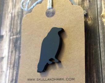 Raven Lapel Pin / Tie Tack - Black Laser Cut Acrylic - Black Bird - Crow - Rook - Gothic - Edgar Allen Poe - Halloween Costume Accessory