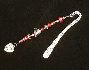 Bookmark-Cherry Red AB & Smoky Quartz Crystal Beaded Antique Silver, Gunmetal Bookmark-Heart-FREE Shipping inside USA