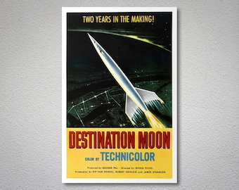 Destination Moon Movie Poster - Poster Paper, Sticker or Canvas Print / Gift Idea