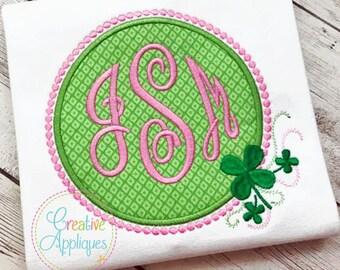 Clover Shamrock Monogram St Patrick's Day Frame Digital Machine Embroidery Applique Design 4 Sizes, monogram embroidery frame,