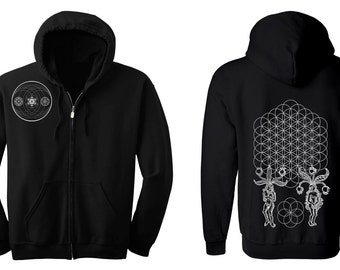 ORIGINS Flower of Life Hoodie Men's and Women's Black Hooded Sweatshirt Sacred Geometry Jacket