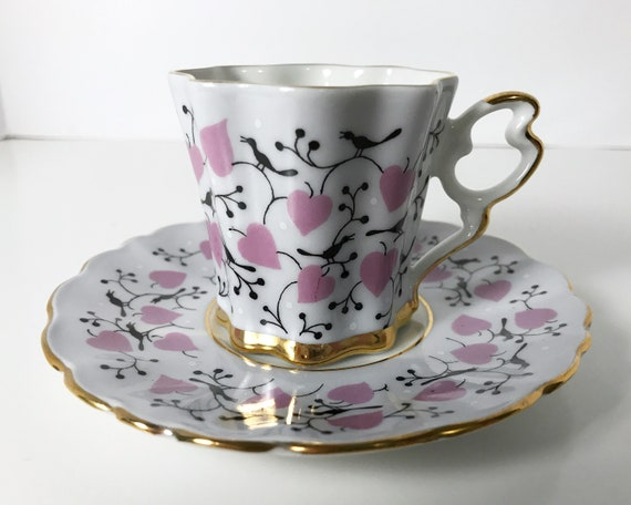 JSK Czechoslovakia Valentine Heart Demitasse and Saucer