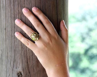 Brass Flower Ring with Vines - Statement Ring - Vine Ring - Large Ring - Floral Ring - Gold Tone Ring - Bold Ring - Brass Ring - Boho Ring