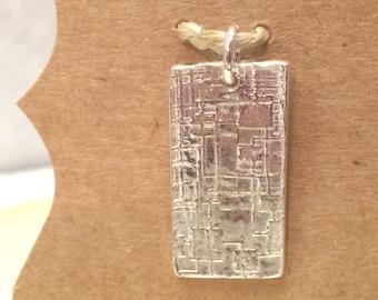 Textured Filigree Art Clay Pendant, .999 Fine Silver Art Clay Pendant, Rectangle Pendant, Geometric Design Pendant, Pendants under 50
