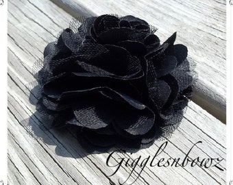 Beautiful single BLACK Satin and Tulle Puff Flower