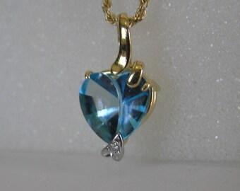 Vintage 14 K Solid Gold Blue Topaz Heart Shaped Lavaliere Necklace