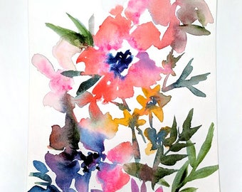 No. 22 Original 6x9 watercolor floral painting