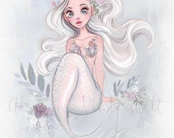 Pastel Mermaid Sketch Print