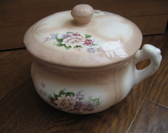 Vintage Glazed Ceramic Chamber Pot With Lid