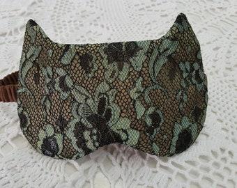 Cat sleep mask. Handmade eye mask. Night sleeping mask. Travel sleep eye mask. Airplane travel mask. Travel gift for her.