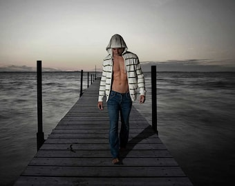 Selkie Gay Art Male Art Digital Download JPG Photo by Michael Taggart Photography pier ocean sea legend Scottish misty sky brooding storm