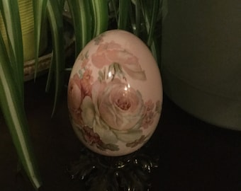 Painted Glass Egg on stand