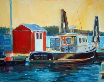 Tomahawk - Freeport Harbor, Maine -  Original Oil Painting on Gessobord - 11 x 14 unframed