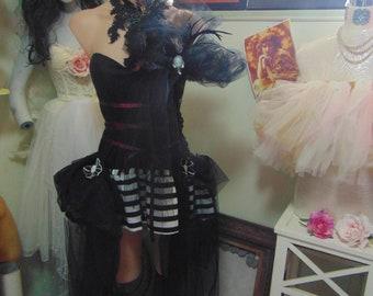 Burlesque Showgirl French Corset sz 10 Vaudeville Sideshow Shabby Chic Vintage Muse