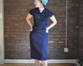 50's Vintage || Navy Wiggle Nautical Look Dress with Large Satin Bow and Cap Sleeves || 0038