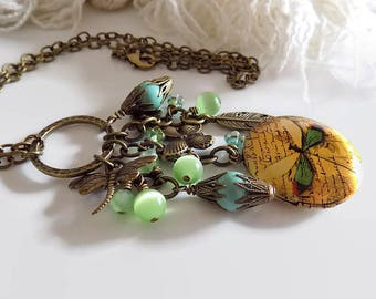 Dragonfly Necklace Dragonfly Locket  Green Dragonfly Charm  Victorian Style Necklace Steampunk Jewelry Gift for Mom Gift Wrap