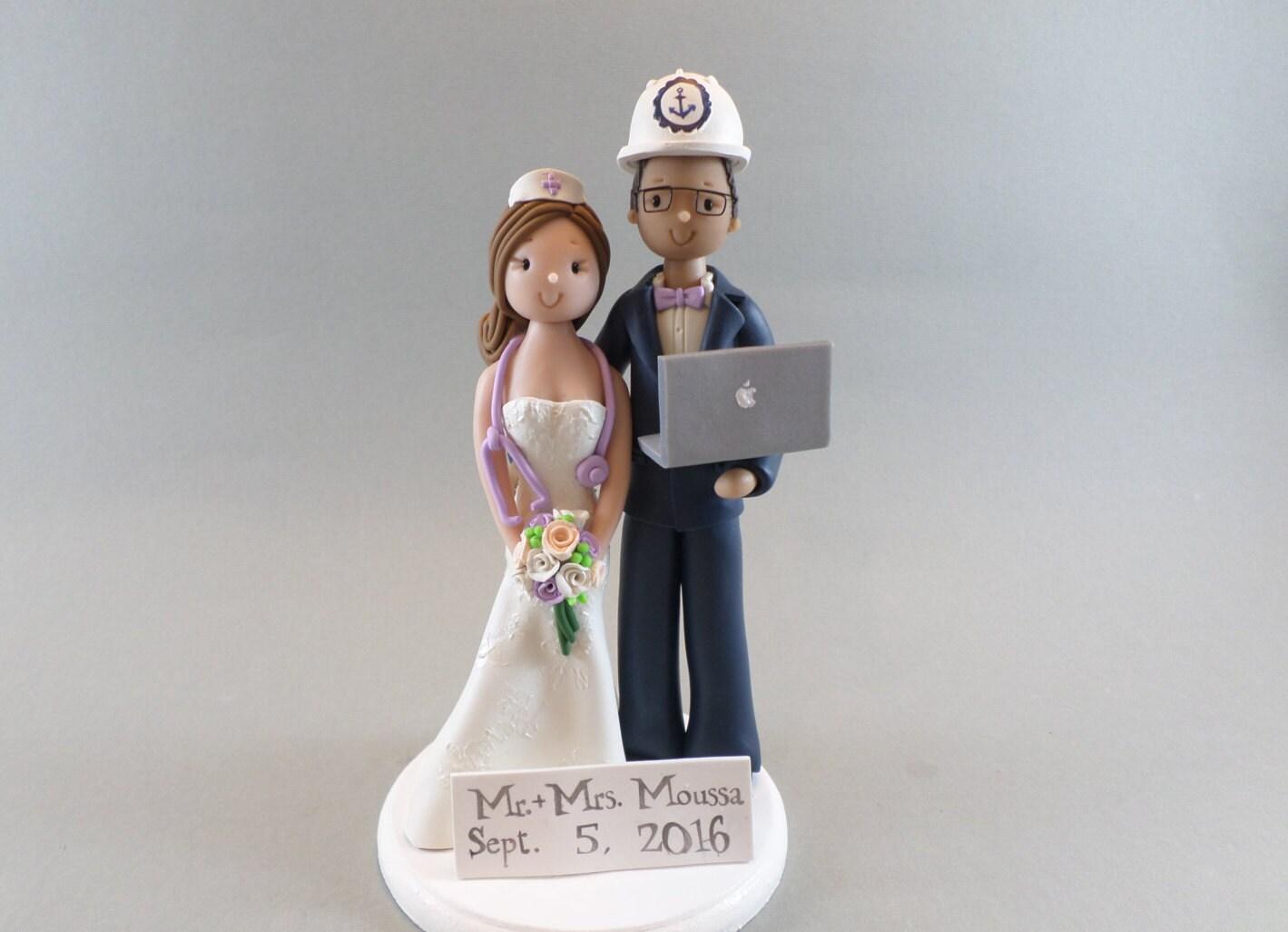 Cake Toppers Nurse & Computer Engineer Customized Wedding