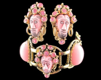Selro Pink  Africans Set/ Selini Rhinestone Demi Parure/ Shrunken Heads  Bracelet and Earrings/ Selro Gold Tone Demi Parure