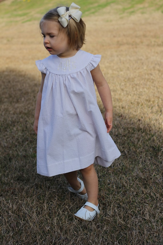 Girls Monogrammed Khaki / Beige Seersucker Dress, Perfect for Beach Photos