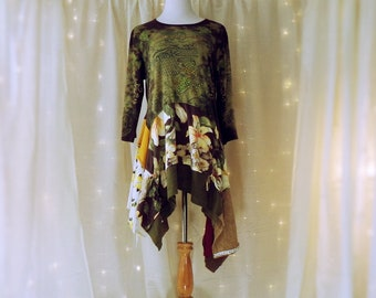 L/XL Patchy Funky Tunic, Hippie Clothing, Tee Shirt Dress, Festival Clothing, Boho Shabby Chic, Lagenlook Upcycled Patchwork Tunic Top