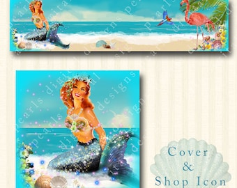 Mermaid By Sea Beach, Cover banner and shop icon, instant download, blank, premade, waves, ocean, flamingo, parrot, shells, sand, floral