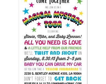 Beatles Theme Baby Shower Invite
