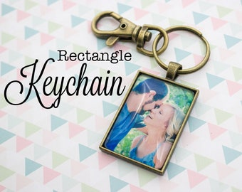 Custom Photo Keychain - Photo Key Chain - Antique Bronze Keychain - Photo Keyring - Personalized Photo Keychain - 25 x 35 mm Rectangle
