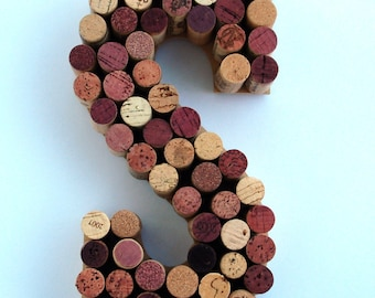 Wine Cork Letter S made from real wine corks! Cork Letters initial S wine stained corks. Monogram letter S Wedding Gift, Anniversary Gift