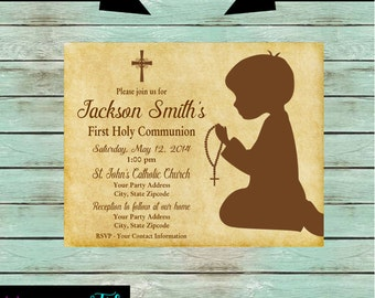 First Holy Communion Baptism Confirmation Religious Boy Party Invitations Invites Personalized Custom ~ We Print and Mail to You