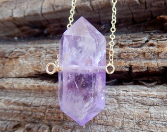Amethyst Crystal Point Gold Necklace Wire Wrapped Double Terminated Quartz Wand Vertical Pendant Gold Filled Chain