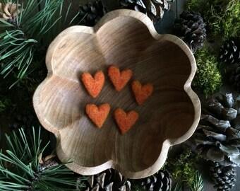 Felted wool hearts, set of 5, Pumpkin Orange, handmade Halloween decoration, fall table decor, orange felt hearts, friend valentine gift