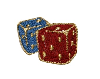 ID 0057Y Pair Red and Blue Dice Patch Casino Embroidered Iron On Applique
