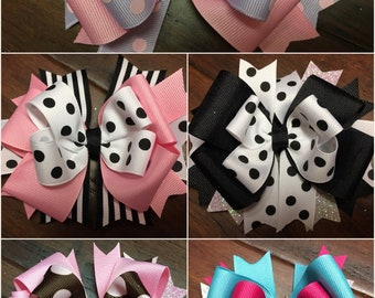 Pink Hair Bow-Dots & Stripes Hairbow Black Hair Bows- Baby Stacked Hair Bow-Boutique Bows Purple hairbow