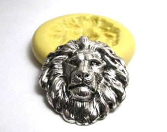 Lion Head - Lion Silicone Mold, Flexible Silicone Mold, Jewelry Mold, Polymer Clay Mold, Resin Mold, Craft Mold, Food Mold, PMC Mold
