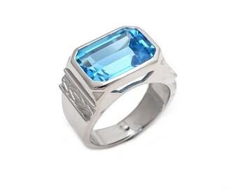 Men's Ring 925 Sterling Silver Blue topaz Gemstone Men's Ring