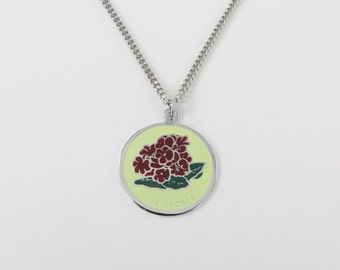 Pretty Primrose Enamel Pendant w/ Necklace - Vintage 1960s Bridesmaid Jewelry - February Birth Month Flower