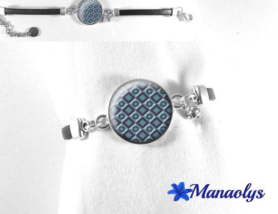 Bracelet genuine leather, geometric grey-blue, glass cabochon