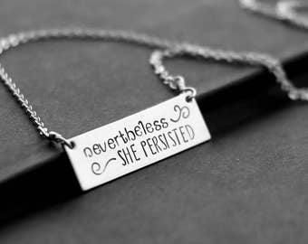 Nevertheless, She Persisted Necklace, Elizabeth Warren, Trump Resistance, Sterling Silver Rectangle, Hand Stamped Horizontal Bar Pendant