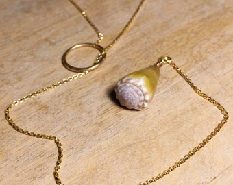 Olive Green Cone Shell Lariat Necklace