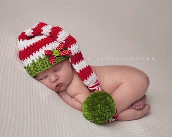 Crochet baby long tail hat, baby beanie with bows, baby prop, newborn prop, long tail hat, elf hat, stocking cap
