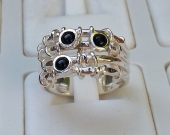 Onyx Silver Ring, Silver Gemstones Ring, Multistone Ring, Handmade Statement Ring, Women Onyx Ring, Stackable Silver Ring, Mother's Day Gift
