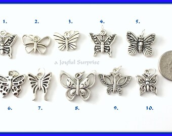 Butterfly Charm, Your choice of Butterfly Charm, Antique Silver Butterfly Charm - Add on Charm to any listing  - 1 Silver Pendant