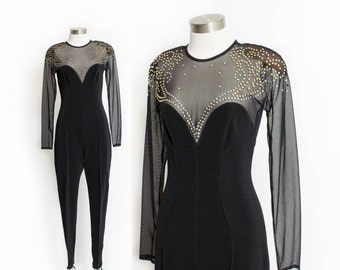 Vintage 80s Jumpsuit - TADASHI Illusion Studded Black Catsuit 1980s - Small