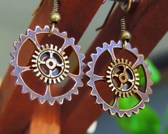 Earrings steampunk cogs in bronze and copper nut clock mechanism