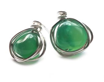K-Rulez CHIBI agate stud earrings // Green agate sterling silver earring// silver stud earrings //  Stud Earrings // Post Earrings