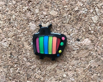 TV Pin, TV Retro Pin, Enamel Pin, Lapel Brooch Pin, Lapel Pins, Charms, Television Pin, TV Brooch Pin, New