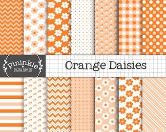 Orange Digital Paper, Daisy Digital Paper, Flower Scrapbook Paper, Instant Download, Commercial Use, Digital Scrapbook Paper Pack