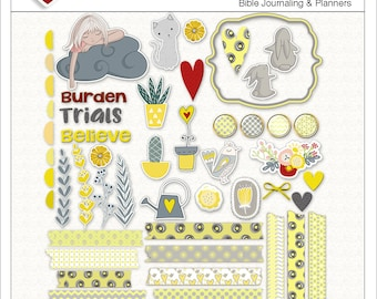 Sale! Burdened Girl BOTH: Printable & Digital Bible Journal Kit Includes 1 PDF and 50+ Pngs Yellow and Gray Washi Tape